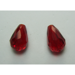 Gocce Sfaccettate 15x10 mm Color Ruby  - 2 pz