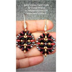 Olivia  Earrings Kit  Black/Gold/Red version  (material kit)