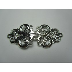 Alloy Hook Clasp  6,7x2,8  mm, Flower Pattern  Antique  Silver Color Plated - 1 pc