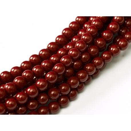 Glass Pearls  6 mm Cranberry  -  25 pcs