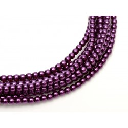 Glass Pearls  8 mm  Purple  - 25 pcs