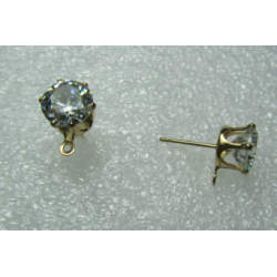 Zircon Crystal Ear Stud  8 mm  Crystal/gold Color  - 2  pcs