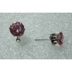 Perno Con Strass  8  mm  Color Rosa/Argentato  -   2 pz