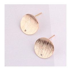 Round Ear Stud  14x12 mm  Gold Satin Colour - 2  pcs