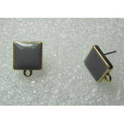 Square Enameled Ear Stud 10 mm Grey/Gold Colour - 2 pcs