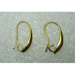 Hook Earwire Design Style  19x10  mm, Gold Color Plated  - 2 pcs