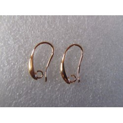 Hook Earwire Design Style  19x10  mm, Dark Gold Color Plated  - 2 pcs