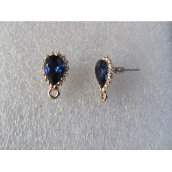 Drop Rhinestone Ear Stud  16x10 mm Blue/Gold  Color  - 2  pcs