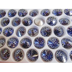 High Quality Glass Pointed Back Rhinestone Rivoli 14 mm Cobalt /Silver Netted Patina - 1 pc