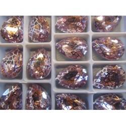 Cabochon Goccia  Vetro Alta Qualità 13x18  mm Amethyst/Patina Retinata Argentata  - 1 pz