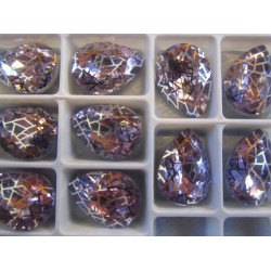 Cabochon Goccia  Vetro Alta Qualità 13x18  mm Light Lilac/Patina Retinata Argentata  - 1 pz