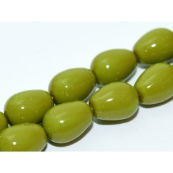 Czech  Plain  Glass Tears/Pears  11 x 8 mm  Pea Green   -  4  pcs