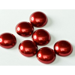 Round Czech Glass Pearl Cabochon 14 mm Brick Red - 1 pc